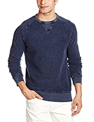 French Connection Men's Cotton Sweatshirt (886928495049_57EBR_Medium_Marine Blue)