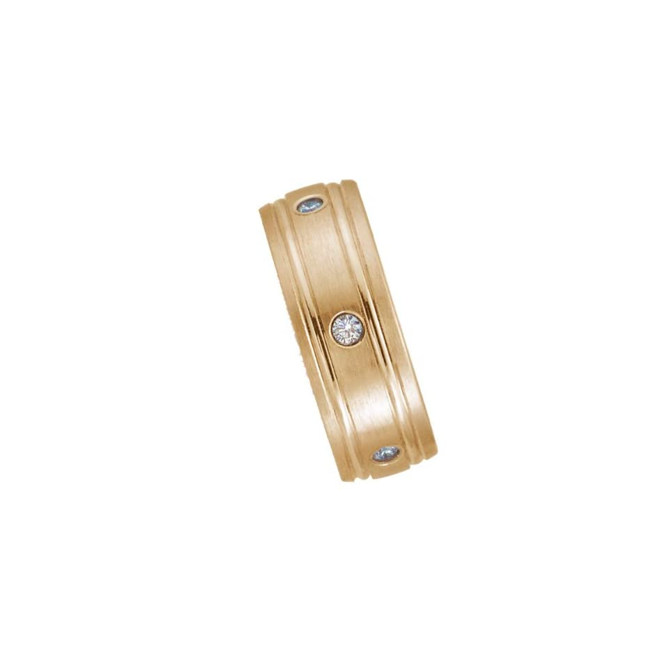 8.0 Millimeters 14 Karat Yellow Gold Diamond Wedding Ring with 8 diamonds of 0.04Ct each, Comfort Fit Style LV17 2832W8 by Wedding Rings by Oromi, Finger Size 11.75