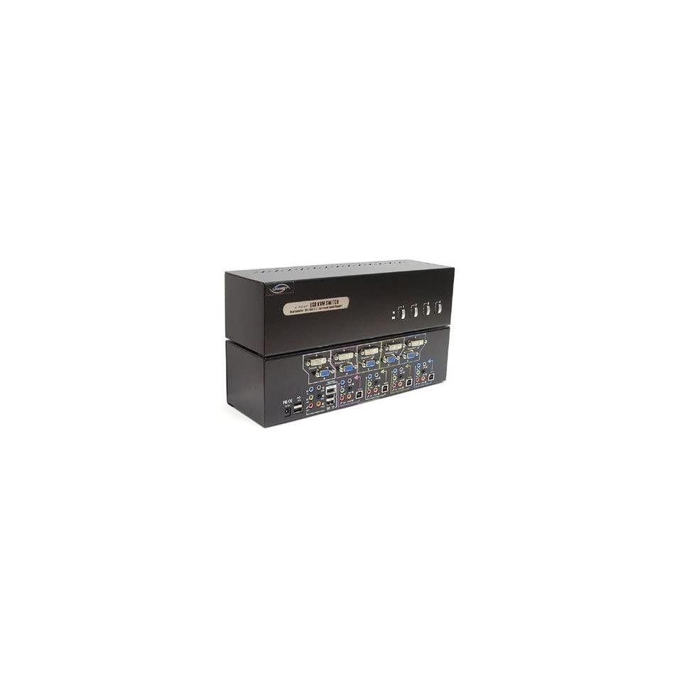 0545359e9e6 LINKSKEY LDV DM714AUSK 4 port dual monitor (dvi?) 7.1 surround sound kvm  switch