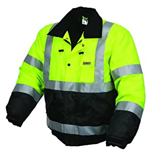 MCR Safety BBCL3LX2 Luminator Class 3 Insulated Polyester Water Resistant Two-Tone Bomber Jacket with 3M Silver Reflective Stripes, Fluorescent Lime Green, 2X-Large