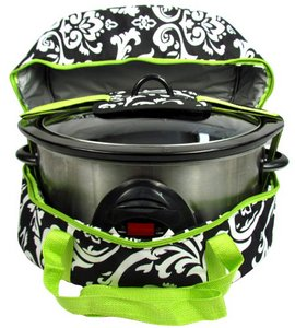 Damask Insulated Slow Cooker Carrier Lime