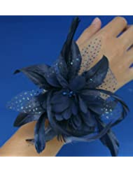 Navy Blue Wrist Corsage Fascinator Fabric, Spotted Organza & Feather Wrist Band Bracelet