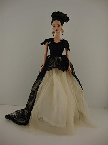 A Very Cute Cream Colored Gown with Black Lace Accents Made to Fit the Barbie Doll