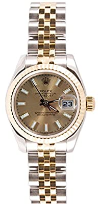 Rolex Ladys 179173 Datejust Steel & 18k Gold, Jubilee Band, Fluted Bezel & Champagne Stick Dial