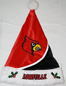 Louisville Cardinals Colorblock Plush Swoop Santa Hat by Hall of Fame Memorabilia