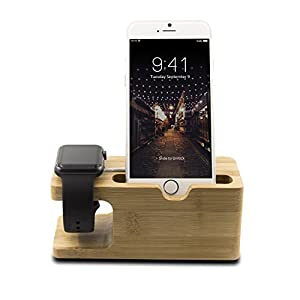 SAVFY® 2 in 1 Bamboo Desktop Stand Holder Charger Dock Station For Apple Watch 38mm 42mm&iphone from SAVFY