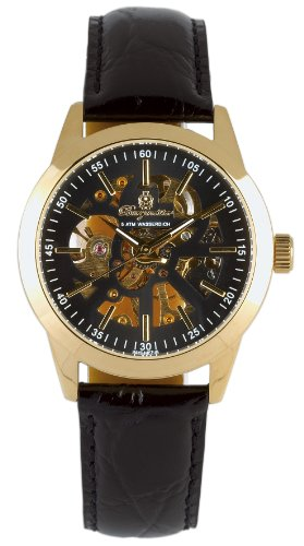 Burgmeister Unisex Orlans Stainless Steel Ip Gold Watch BM318-222 With Skeleton Dial And Black Leather Strap
