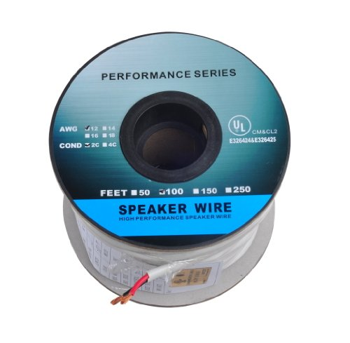 C&E 100 Feet 12Awg Cl2 Rated 2-Conductor Loud Speaker Cable (For In-Wall Installation)