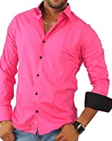 Easy Young Fashion Herren Business Bicolor Casual Slim Fit Hemd Style 12100 pink