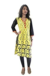 Lal Chhadi Women's Rayon 3/4 Sleeve Yellow Kurta
