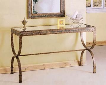 Cheap Entry Way Console Table Brown Metal Frame (VF_AM8633)
