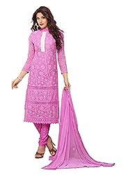 Fashion Bazaar Women's Georgette Unstitched Salwar Suit (Pink)
