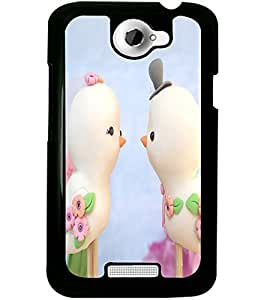 ColourCraft Love Birds Design Back Case Cover for HTC ONE X