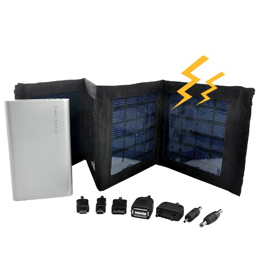 4000Mah, 4W Foldable Panels Portable Solar Charger And Battery - Capable Of Samsung, Nokia, Sony Ericsson Phones Charging