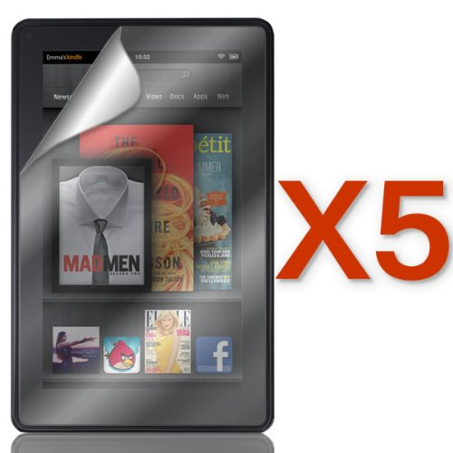 """Coveron® 5 Pack Clear Transparent Lcd Screen Protector Shield For Amazon Kindle Fire Hd 7"""" [Wcd40]"""