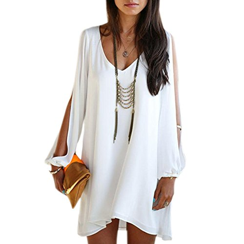 Chnli Fashion New Sexy Women Summer Casual Sleeveless Loose Party Evening Cocktail Short Mini Dress Shirt Blouse Tops (UK  10/12, White)