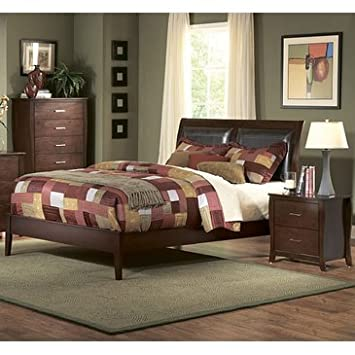 Homelegance Rivera 2 Piece Upholstered Platform Bedroom Set in Brown Cherry