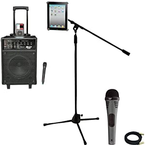 Pyle Speaker, Mic, Cable and Stand Package - PWMA940BTI 600 Watts VHF Wireless Portable PA System w/Microphone,i-Pod Dock & Bluetooth - PDMIK2 Professional Moving Coil Dynamic Handheld Microphone - PMKSPAD1 Multimedia Microphone Stand With Adapter for iPad 2 (Adjustable for Compatibility w/iPad 1) - PPMCL30 30ft. Symmetric Microphone Cable XLR Female to XLR Male