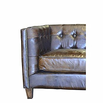 Design Tree Home Capetown 3 Seater Vintage Inspired Sofa, Brown Leather