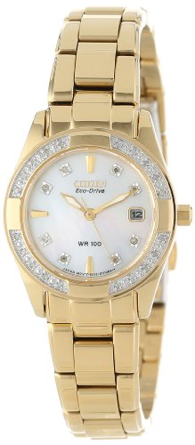 CITIZEN ECO-DRIVE Women's EW1822-52D Regent Gold Tone Diamond Watch
