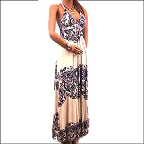 New Sexy Bra Dress Halter Casual Lined Long Maxi Stretch Pattern Size Small, Medium, Large
