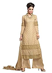 Prenea Women's gold unstitched embroidery work unstitched Salwar Suit