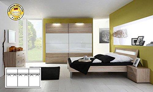 Komplett Schlafzimmer 2247 eiche säger./ weiß Glas Schwebeturenschrank 270cm, Bett 140x200cm