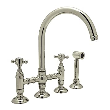Rohl A1461LMWSSTN-2 Country Bridge Kitchen Faucet with Spray Satin Nickel Lever