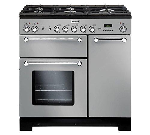 Falcon-Kitchener-90-fours-et-cuisinires-Autonome-Electrique-Gaz-A-Chrome-Acier-inoxydable-boutons-Rotatif