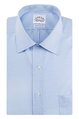 Eagle Men's Non Iron Regular Fit Solid Spread Collar Dress Shirt, Blue Mist, 17.5