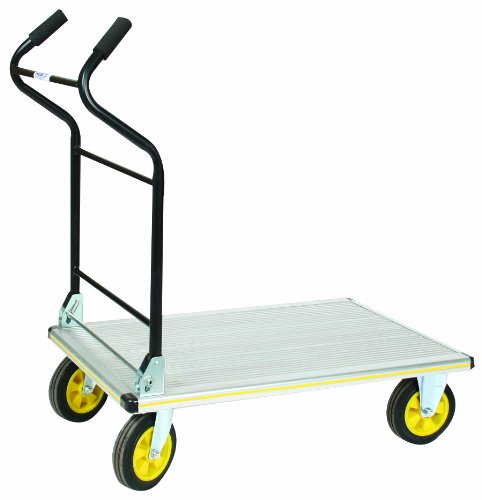 Wesco 270382 Aluminum Platform Truck with Folding Ergonomic Handle, Rubber Wheels, 660lbs Load Capacity, 41