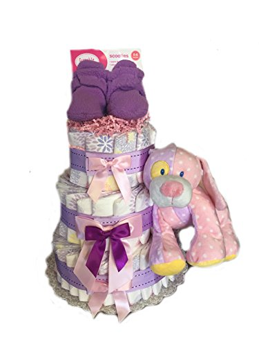 Print Fun - Baby Shower Diaper Cake Gift Set (3 Tier, Purple) - 1
