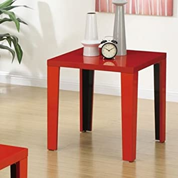 Modern Function Coffee Table Cutout Magazine Rack or End Table in High Gloss Finish (Red) (End Table)