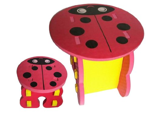 Childrens Table and Chair, Stool Set Ladybird design - Kids Table and chair