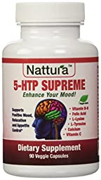 5-HTP SUPREME - For Positive Mood, Relaxation and Appetite Control (with 5-HTP, L-Tyrosine, L-Lysine, Vitamin B6, Folate (Folic Acid), Vitamin C (Ascorbic Acid), Calcium) 90 Capsules by Nattura