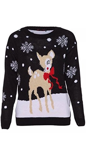NEW-WOMEN-TWO-BABY-REINDEER-CHRISTMAS-LONG-SLEEVE-JUMPER-KNITTED-XMAS-SWEATER-UK-SIZE-8-26