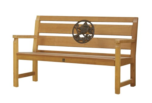 National Geographic by New Creative - Mahogany Bench with Cast Metal Songbird Inset