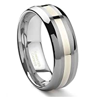 8MM Tungsten Carbide 14K Gold Inlay Wedding Band Ring Sz 11.0 SN#099