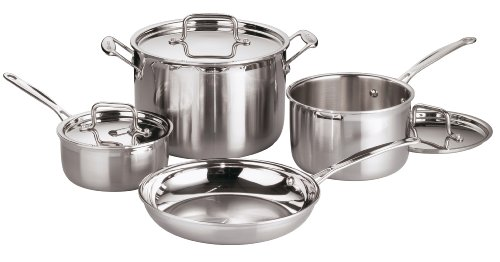Cuisinart MulitClad Pro Stainless Steel Sauce Pan Set with 3 Covers, 4 Pieces