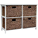 Loxley Brown Wash Wooden Storage Unit with 4 Rattan Basket Drawers