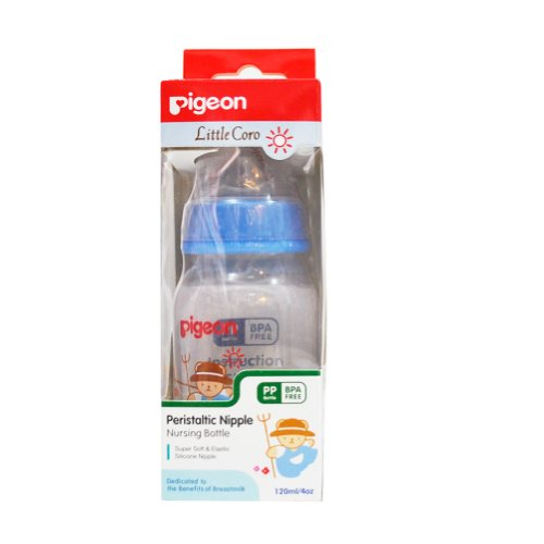 New Pigeon Baby Feeding PP Bottles Coro Boy and Girl 4 oz / 120 ml with Peristaltic Nipple (Blue)