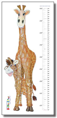 "Gerome the Giraffe - 25"" x 55"" Removable Growth Chart Decal"