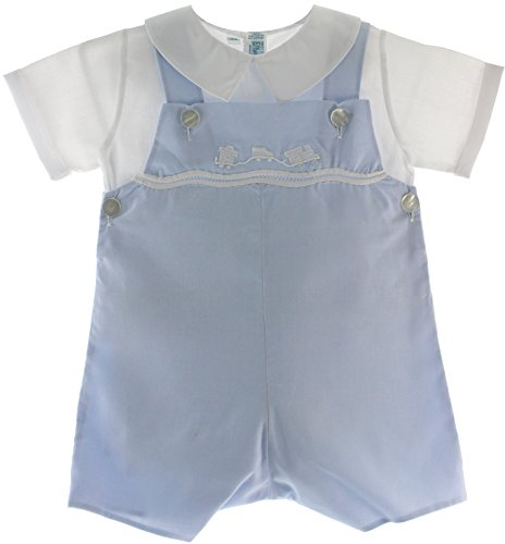 Boys Blue Romper Shirt Set With Train Feltman Brothers (18M) front-388366