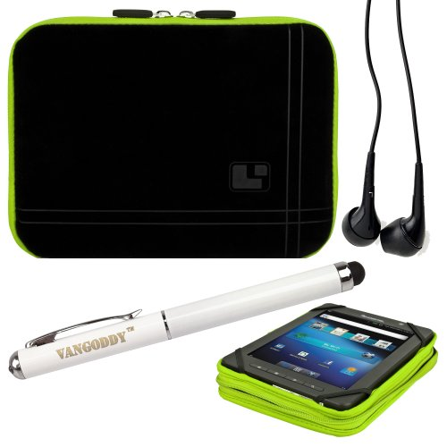 8 Inch Tablet Case Toxic Green Neoprene Bubble Padded Zippered Sleeve (Fits the Barnes and Noble Nook Color, Simple Touch, Tablet, and Touch) + Black Barnes and Noble Nook Color, Simple Touch, Tablet, and Touch Compatible Stereo Ear Buds + 3 In 1 Stylus/L