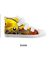 DONGMEN New Custom Design Pokemon Pikachu Boy Girl Kids Canvas Shoes Velcro High Top Breathable Sneakers