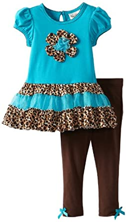 (3 折)Rare Editions Cheetah Tutu Turquoise/Black女童连衣裙+长裤$16.4