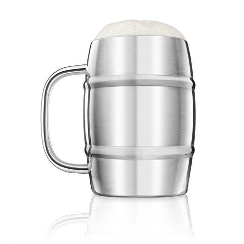 Final Touch Acier inoxydable Beer Keg Mug Tankard Grand Chope à Biere Paroi double - 1 Litre -FTA1700