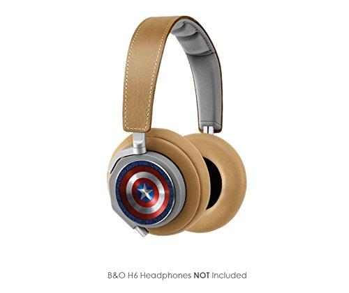 Captain America Vinyl Art Decal Cups (Designed To Fit Bang & Olufsen H6 Headphones - Headphones Not Included)