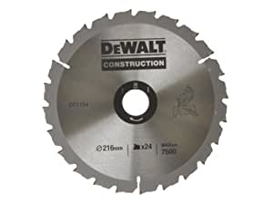 DeWalt DT1154QZ 216 x 30 x 24 dents Lame de scie circulaire Construction (Import Grande Bretagne)