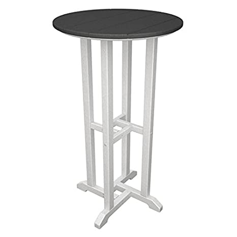 "PolyWood White Frame / Slate Grey Contempo 24"" Round Bar Table RBT224"